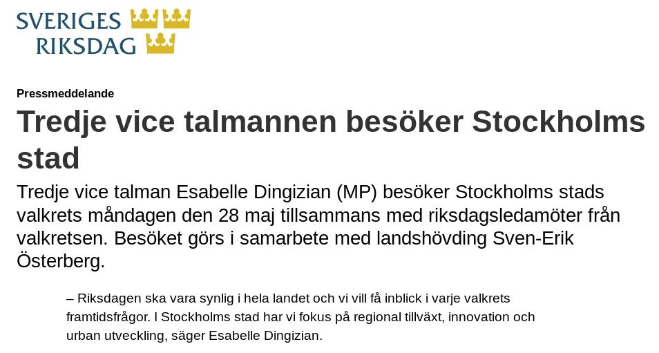Riksdagen på besök i Stockholm