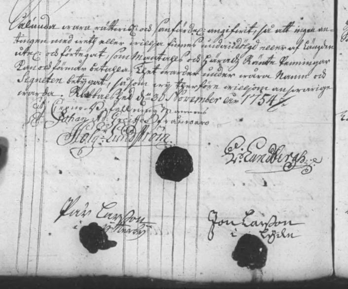 Mantalslängden 1755, underskrifter