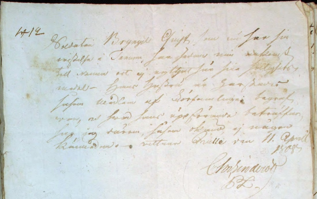 Bryngel Qvist - attest 1808 (Tanum HII:6, AD-bild 4630