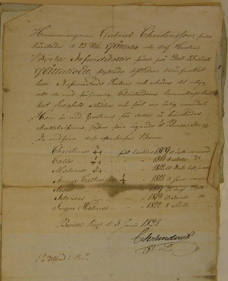 Flyttattest den 5/6 1824